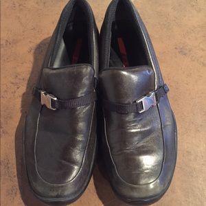 Prada 0137 Black Soft Leather Slip On Loafers 36.5